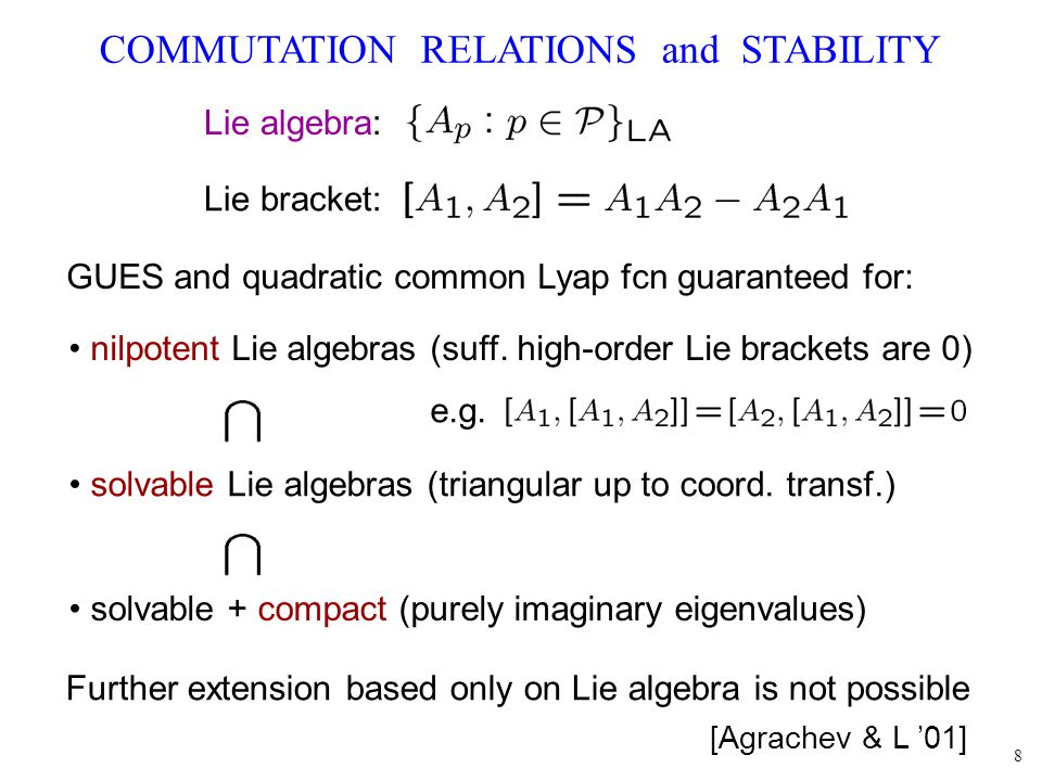 8 COMMUTATION RELATIONS and STABILITY GUES and quadratic common Lyap fcn guaranteed for: nilpotent Lie algebras (suff. high-order Lie brackets are 0)