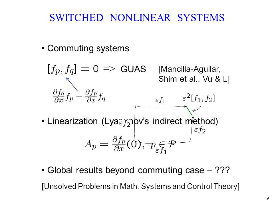 30 MULTIPLE WEAK LYAPUNOV FUNCTIONS Theorem: is GAS if.