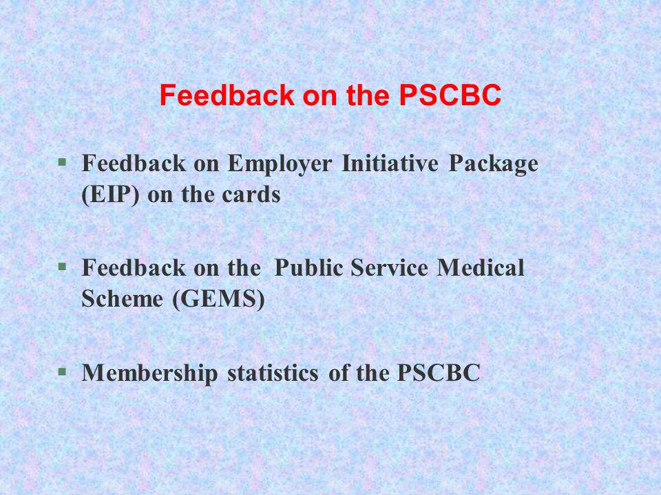 Feedback on the PSCBC §Feedback on Employer Initiative Package (EIP) on the cards §Feedback on the Public Service Medical Scheme (GEMS) §Membership st