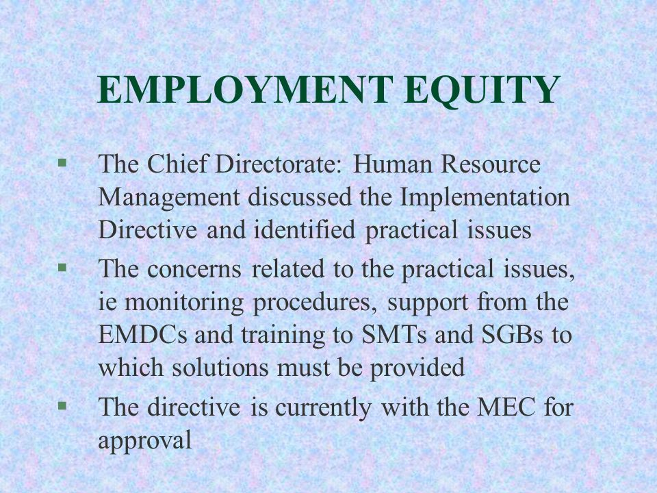 EMPLOYMENT EQUITY §The Chief Directorate: Human Resource Management discussed the Implementation Directive and identified practical issues §The concer
