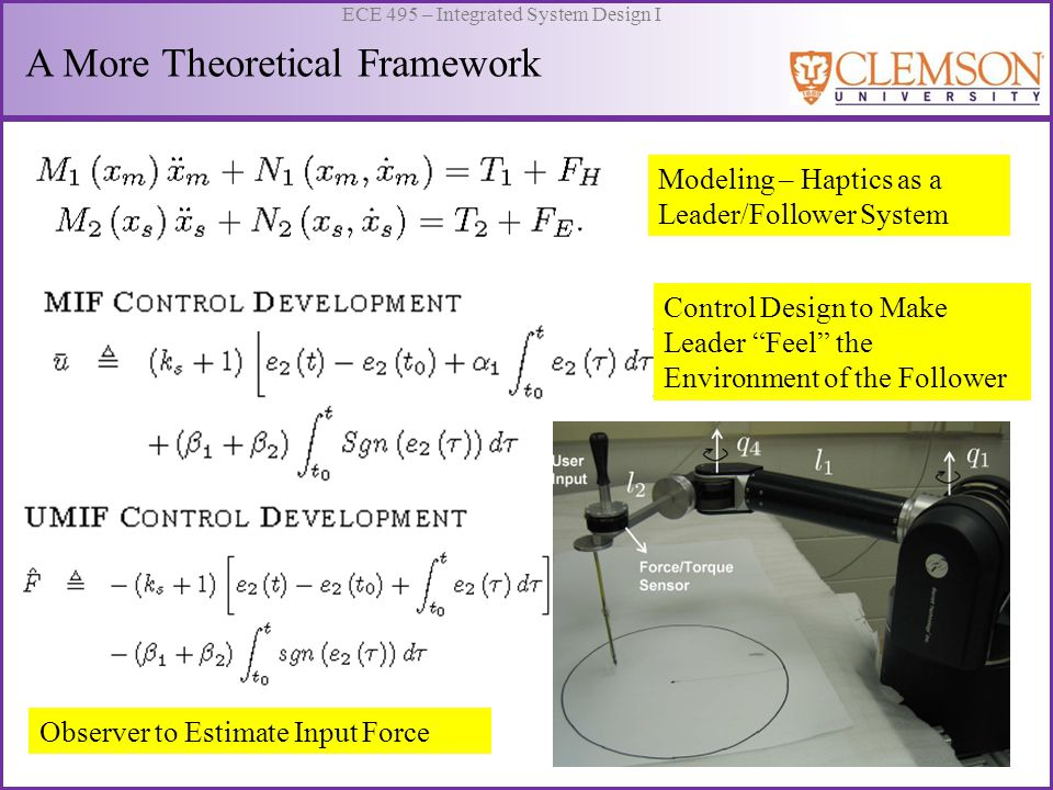 ECE 495 – Integrated System Design I A More Theoretical Framework Modeling – Haptics as a Leader/Follower System Control Design to Make Leader Feel th