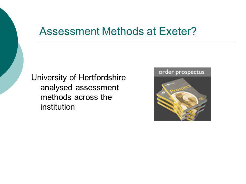 Assessment Methods at Exeter.