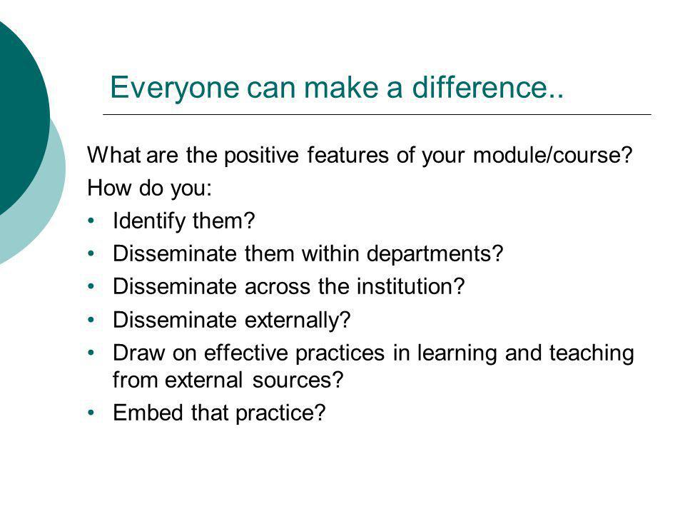 Everyone can make a difference.. What are the positive features of your module/course? How do you: Identify them? Disseminate them within departments?