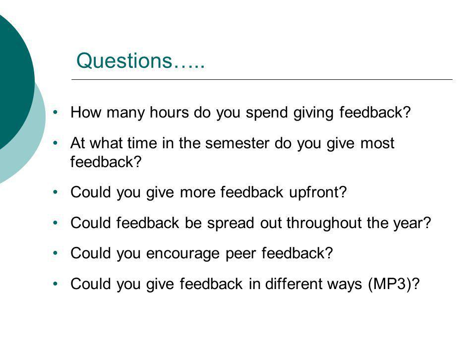 Questions….. How many hours do you spend giving feedback? At what time in the semester do you give most feedback? Could you give more feedback upfront