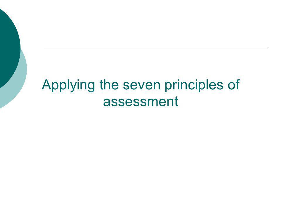 Applying the seven principles of assessment