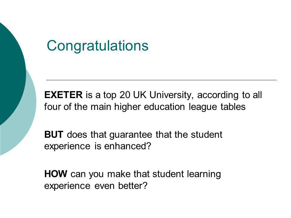 Congratulations EXETER is a top 20 UK University, according to all four of the main higher education league tables BUT does that guarantee that the student experience is enhanced.