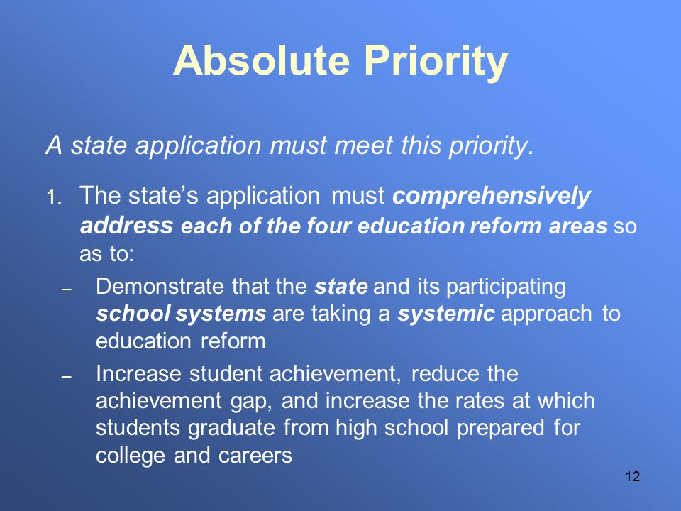 12 Absolute Priority A state application must meet this priority. 1. The states application must comprehensively address each of the four education re
