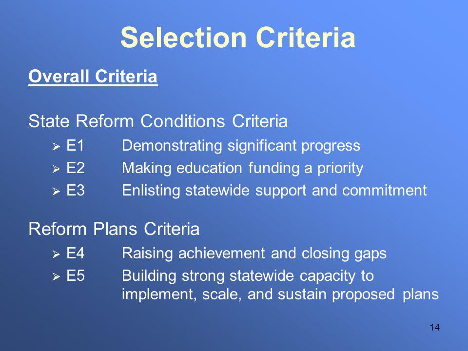 14 Selection Criteria Overall Criteria State Reform Conditions Criteria E1Demonstrating significant progress E2Making education funding a priority E3E