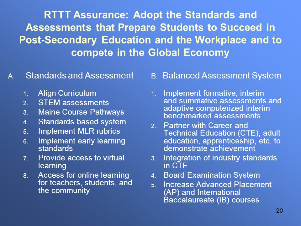 20 RTTT Assurance: Adopt the Standards and Assessments that Prepare Students to Succeed in Post-Secondary Education and the Workplace and to compete i