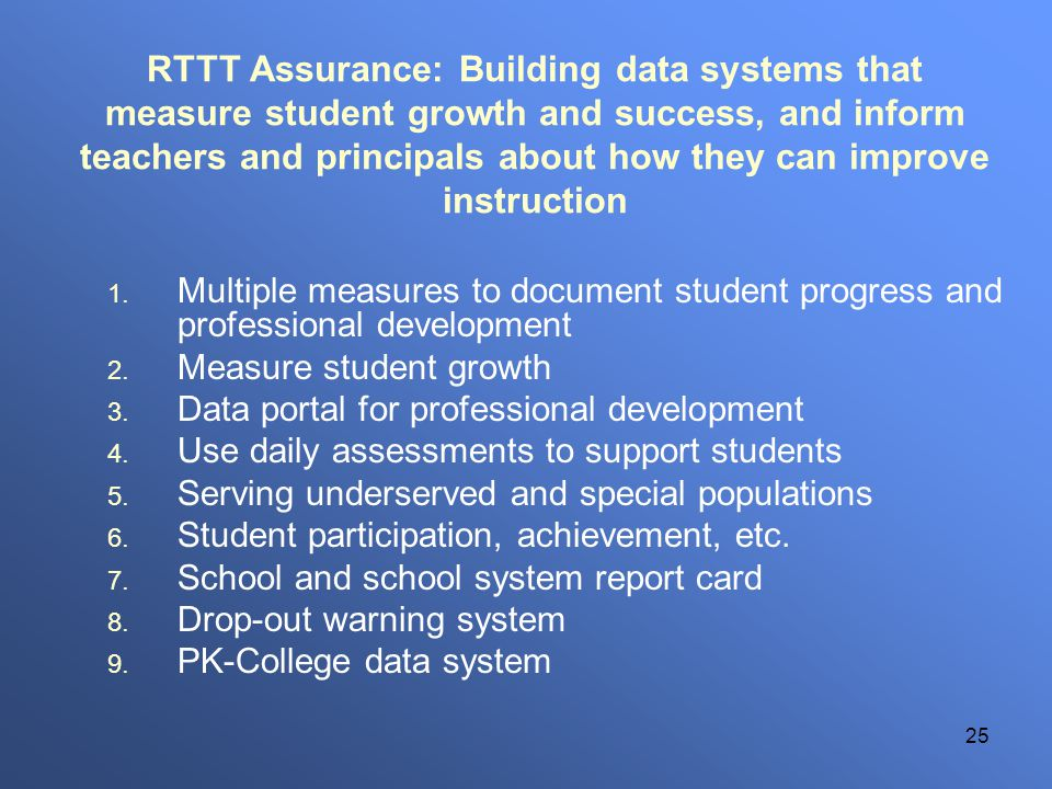 25 RTTT Assurance: Building data systems that measure student growth and success, and inform teachers and principals about how they can improve instru