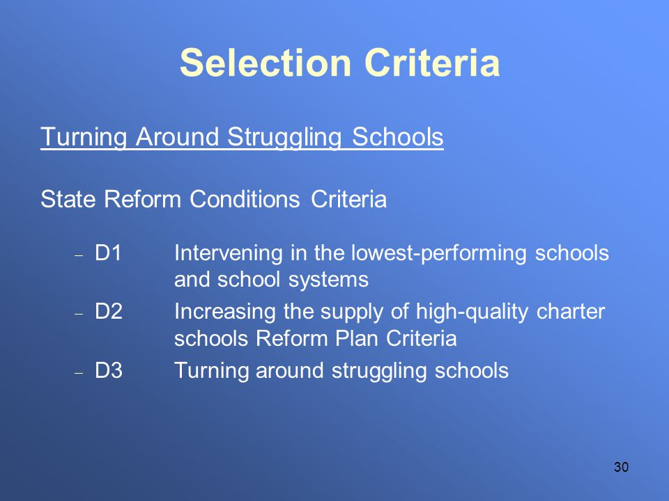 30 Selection Criteria Turning Around Struggling Schools State Reform Conditions Criteria D1Intervening in the lowest-performing schools and school systems D2Increasing the supply of high-quality charter schools Reform Plan Criteria D3Turning around struggling schools