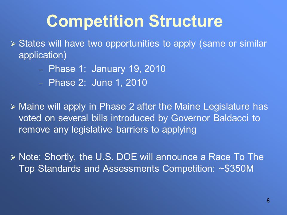 8 Competition Structure States will have two opportunities to apply (same or similar application) Phase 1: January 19, 2010 Phase 2: June 1, 2010 Main