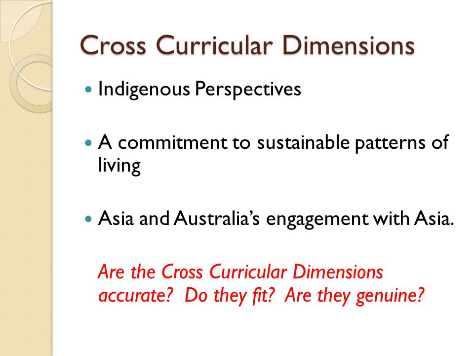 Cross Curricular Dimensions Indigenous Perspectives A commitment to sustainable patterns of living Asia and Australias engagement with Asia. Are the C
