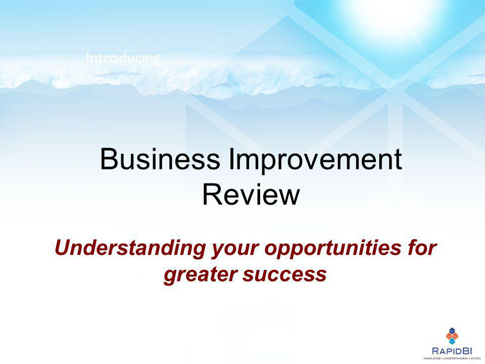Business Improvement Review Understanding your opportunities for greater success Introducing…...