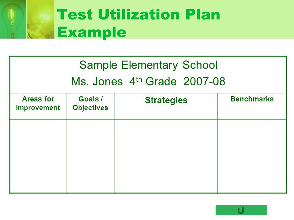 Test Utilization Plan Example Sample Elementary School Ms. Jones 4 th Grade 2007-08 Areas for Improvement Goals / Objectives Strategies Benchmarks