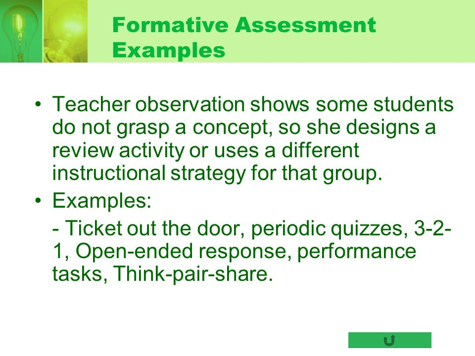 Formative Assessment Examples Teacher observation shows some students do not grasp a concept, so she designs a review activity or uses a different ins