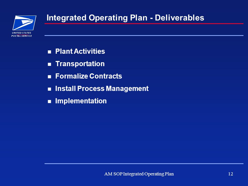 AM SOP Integrated Operating Plan12 Plant Activities Transportation Formalize Contracts Install Process Management Implementation Integrated Operating