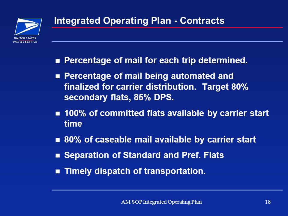 AM SOP Integrated Operating Plan18 Integrated Operating Plan - Contracts Percentage of mail for each trip determined. Percentage of mail being automat