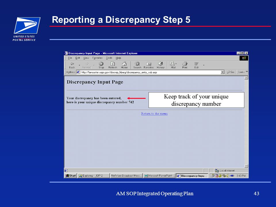 AM SOP Integrated Operating Plan43 Reporting a Discrepancy Step 5