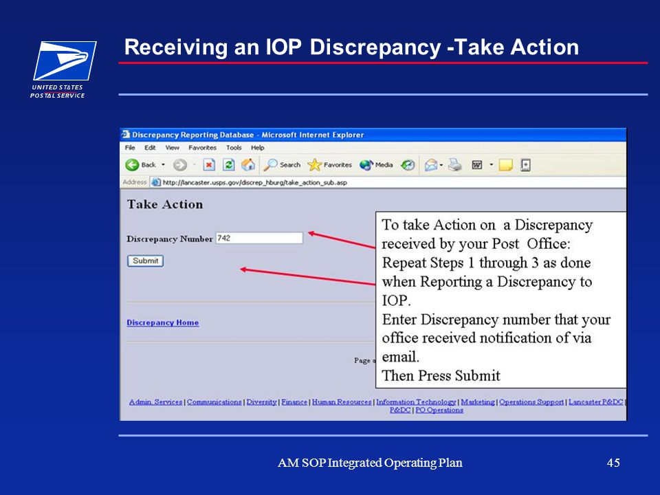 AM SOP Integrated Operating Plan45 Receiving an IOP Discrepancy -Take Action