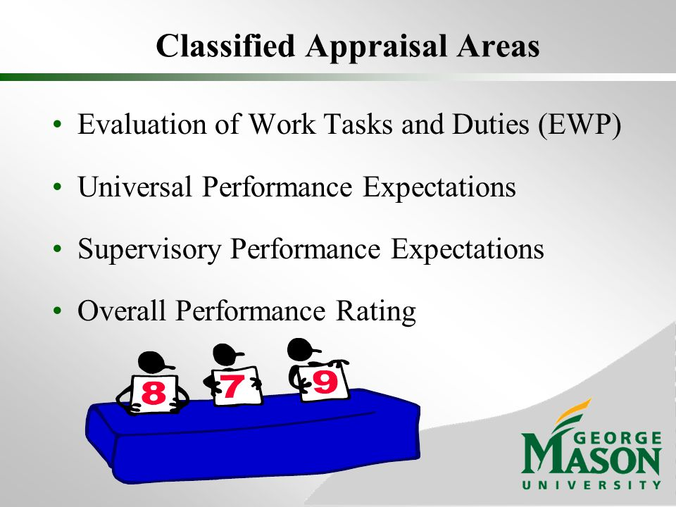 Classified Appraisal Areas Evaluation of Work Tasks and Duties (EWP) Universal Performance Expectations Supervisory Performance Expectations Overall P