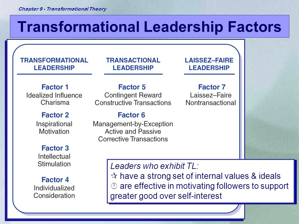 Chapter 9 - Transformational Theory Transformational Leadership Factors Leaders who exhibit TL: ¶ have a strong set of internal values & ideals · are