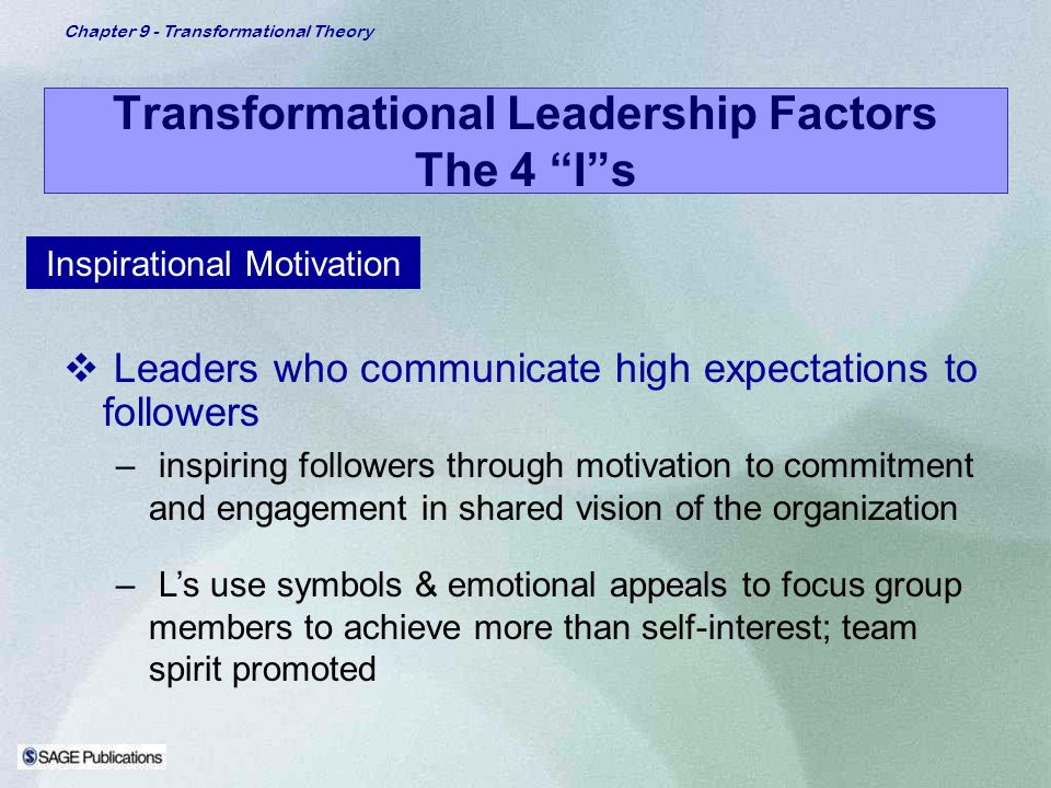 Chapter 9 - Transformational Theory Transformational Leadership Factors The 4 Is Inspirational Motivation Leaders who communicate high expectations to