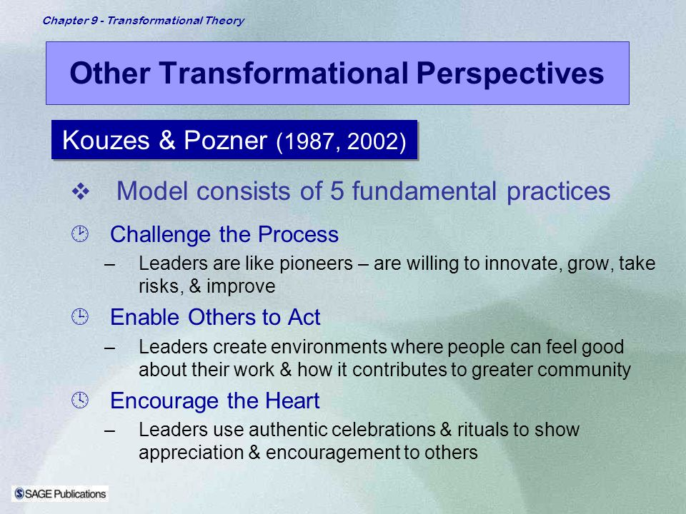 Chapter 9 - Transformational Theory Other Transformational Perspectives Model consists of 5 fundamental practices ¸Challenge the Process –Leaders are