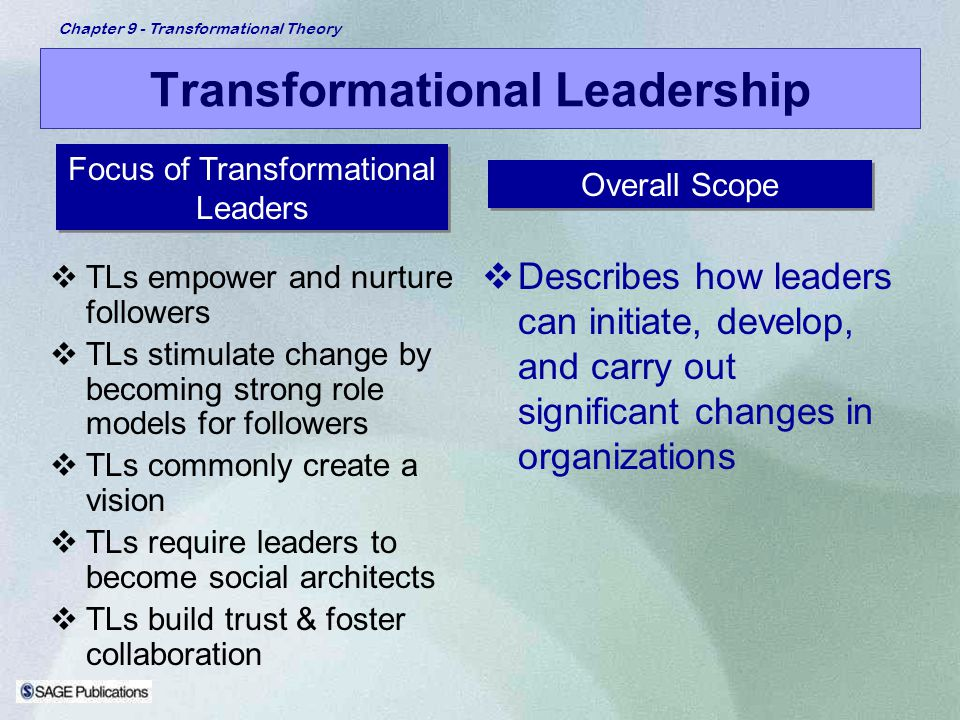 Chapter 9 - Transformational Theory Transformational Leadership TLs empower and nurture followers TLs stimulate change by becoming strong role models
