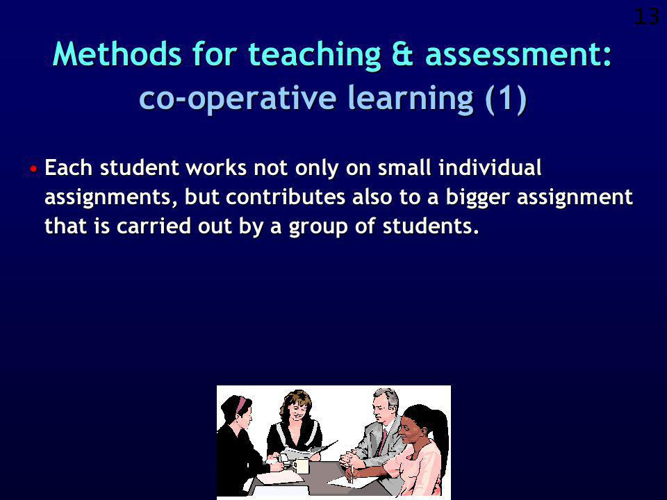 12 Active learning Co-operative learning Study close to reality Communication through Internet Each student creates a course-portfolio Peer assessment of students Students offer feedback on the course Electronic learning environment