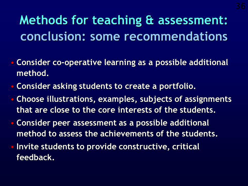 35 Active learning Co-operative learning Study close to reality Communication through Internet Each student creates a course-portfolio Peer assessment of students Students offer feedback on the course Electronic learning environment