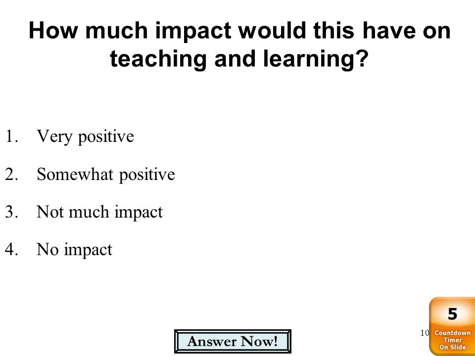 How much impact would this have on teaching and learning? 106 1.Very positive 2.Somewhat positive 3.Not much impact 4.No impact Answer Now! 5