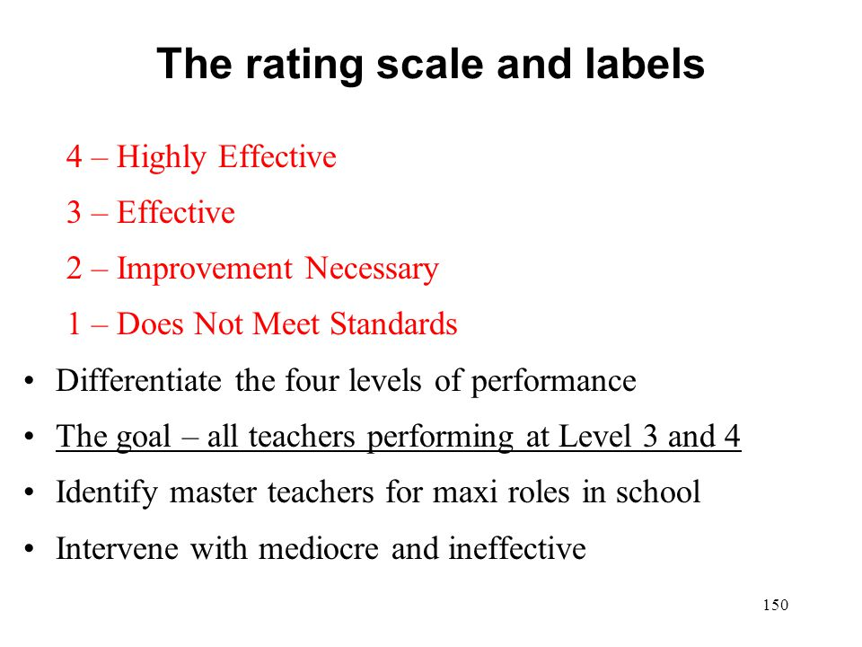 The rating scale and labels 4 – Highly Effective 3 – Effective 2 – Improvement Necessary 1 – Does Not Meet Standards Differentiate the four levels of
