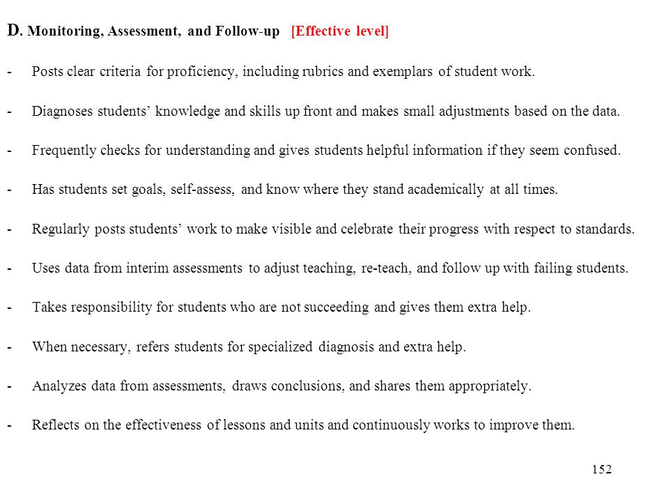 152 D. Monitoring, Assessment, and Follow-up [Effective level] -Posts clear criteria for proficiency, including rubrics and exemplars of student work.