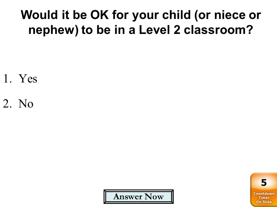 Would it be OK for your child (or niece or nephew) to be in a Level 2 classroom? 1.Yes 2.No Answer Now 5