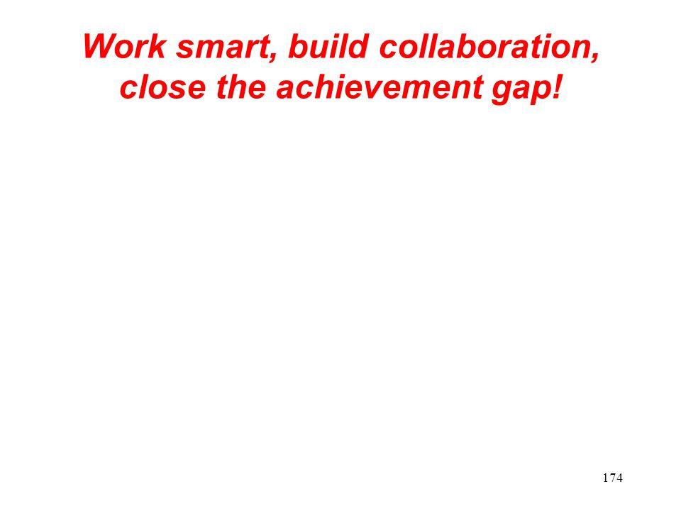 Work smart, build collaboration, close the achievement gap! 174