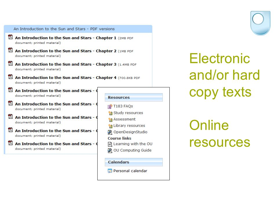 Electronic and/or hard copy texts Online resources