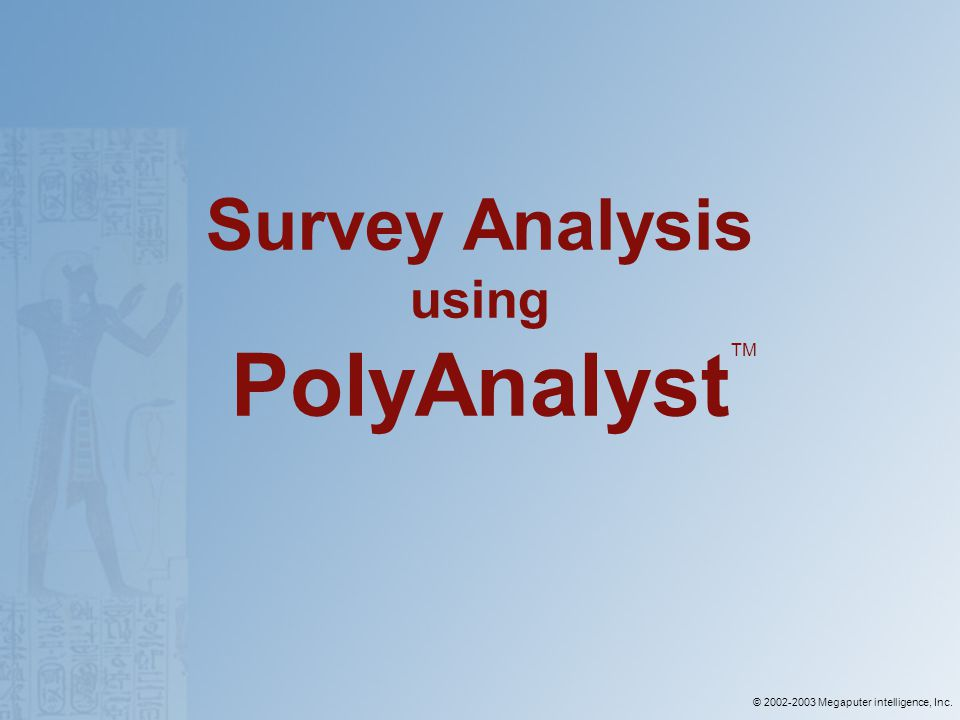 © 2002-2003 Megaputer intelligence, Inc. Survey Analysis using PolyAnalyst TM