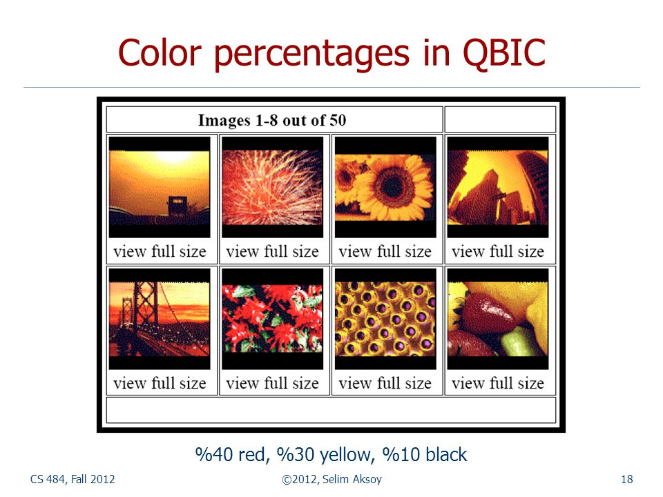 CS 484, Fall 2012©2012, Selim Aksoy18 Color percentages in QBIC %40 red, %30 yellow, %10 black