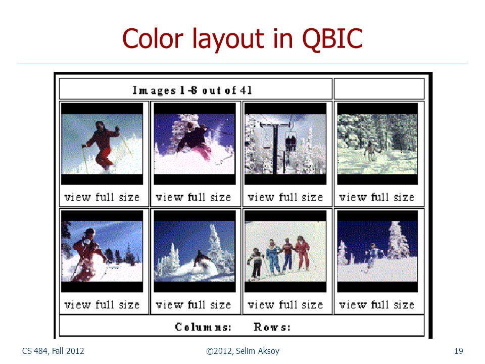 CS 484, Fall 2012©2012, Selim Aksoy19 Color layout in QBIC