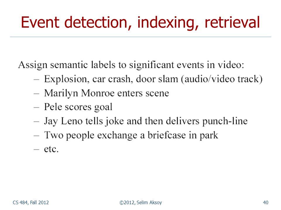 CS 484, Fall 2012©2012, Selim Aksoy40 Event detection, indexing, retrieval