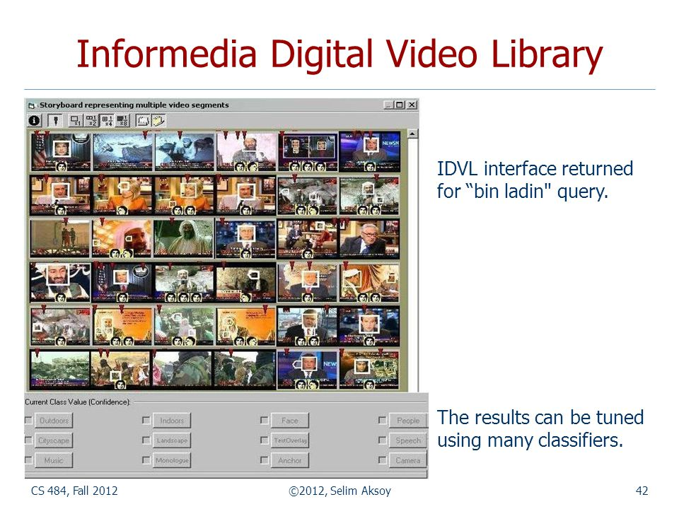 CS 484, Fall 2012©2012, Selim Aksoy42 Informedia Digital Video Library IDVL interface returned for bin ladin query.