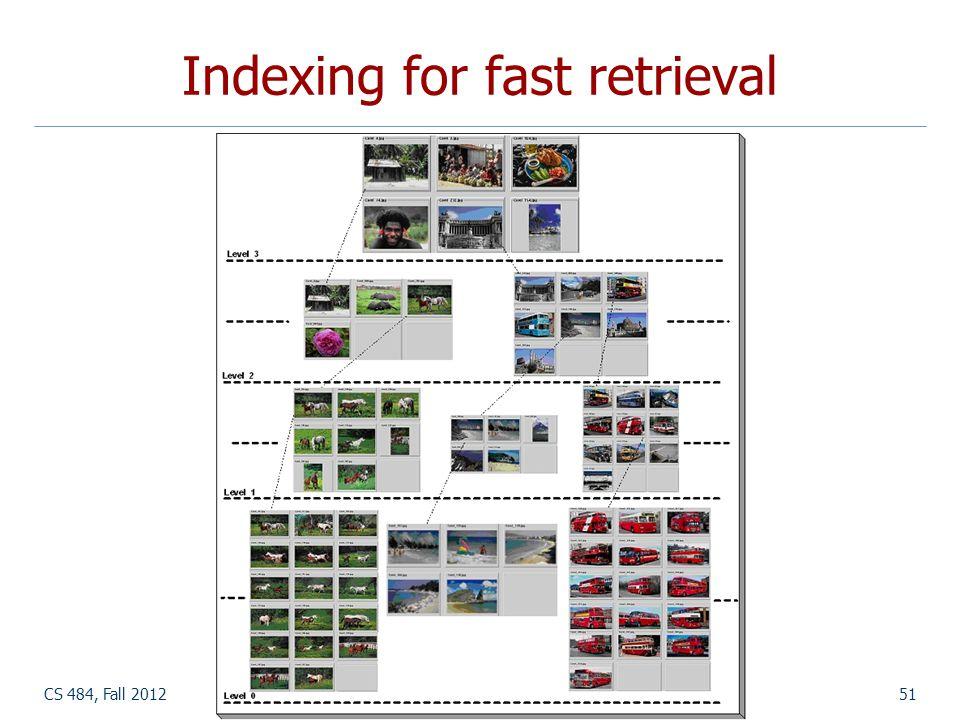 CS 484, Fall 2012©2012, Selim Aksoy51 Indexing for fast retrieval