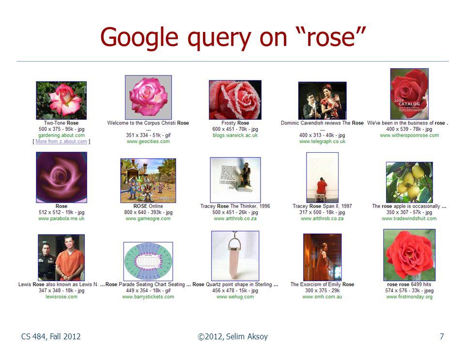 CS 484, Fall 2012©2012, Selim Aksoy7 Google query on rose