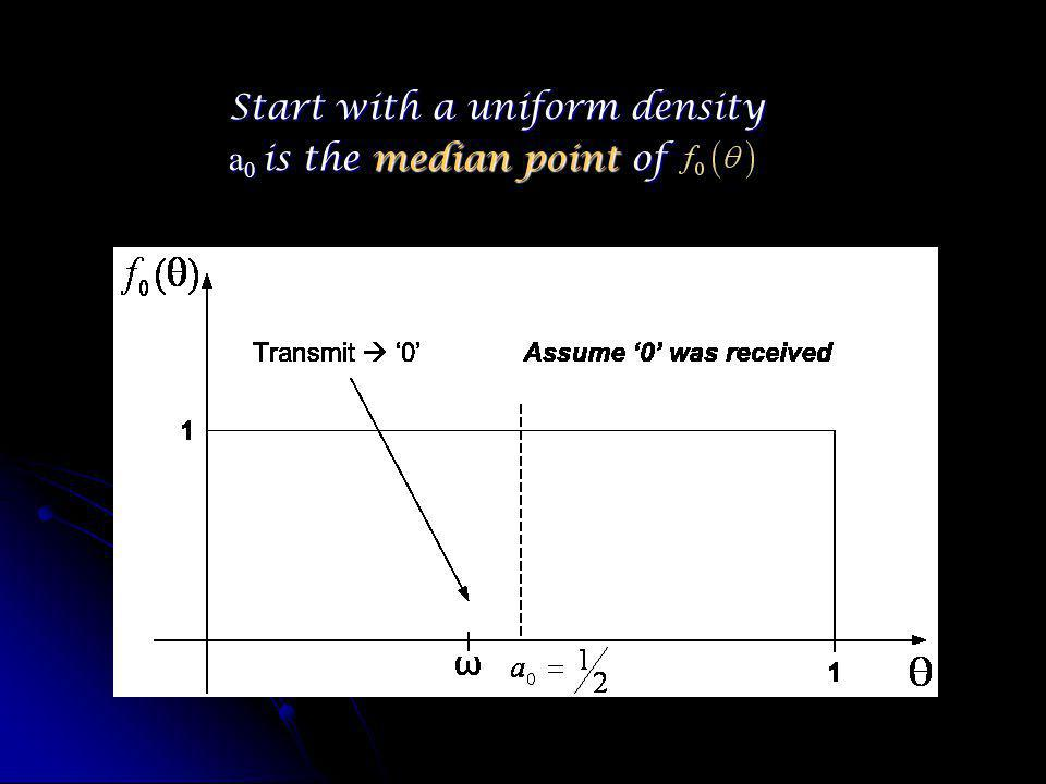 Start with a uniform density a 0 is the median point of