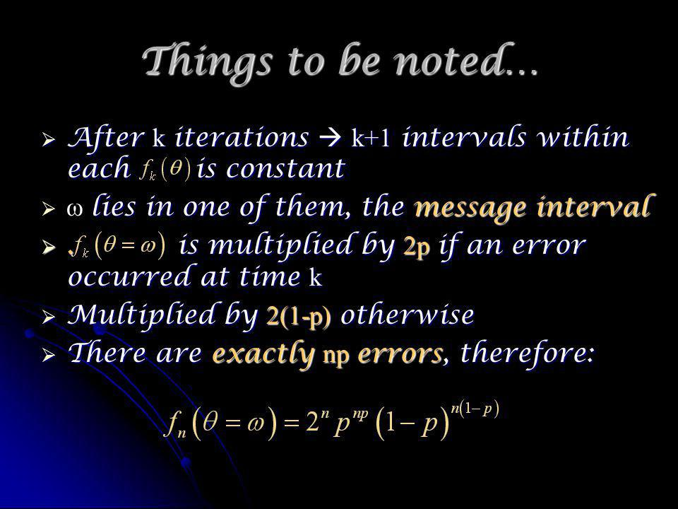 Things to be noted… After k iterations k+1 intervals within each is constant After k iterations k+1 intervals within each is constant lies in one of them, the message interval ω lies in one of them, the message interval.