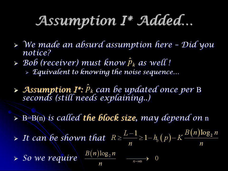 Assumption I* Added… We made an absurd assumption here – Did you notice.