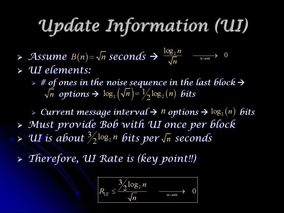 Update Information (UI) Assume seconds Assume seconds UI elements: UI elements: # of ones in the noise sequence in the last block # of ones in the noise sequence in the last block options bits options bits Current message interval options bits Current message interval options bits Must provide Bob with UI once per block Must provide Bob with UI once per block UI is about bits per seconds UI is about bits per seconds Therefore, UI Rate is (key point!!) Therefore, UI Rate is (key point!!)