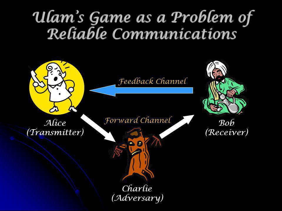Communication Rate Defined Alice transmits one of M possible messages by saying yes/no = 1 bit Alice transmits one of M possible messages by saying yes/no = 1 bit M messages log 2 (M) bits M messages log 2 (M) bits The channel can be used n times (seconds) The channel can be used n times (seconds) Charlie can lie a fraction p of the time no more than np lies (errors) Charlie can lie a fraction p of the time no more than np lies (errors) Define the communication rate R Define the communication rate R