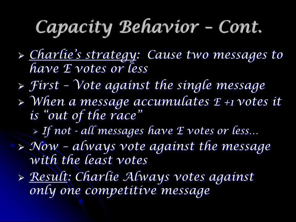 Capacity Behavior – Cont.